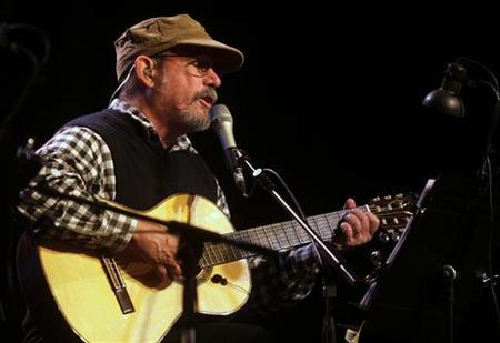 Cuban musician Silvio Rodriguez gives a concert in front of the Lopez presidential palace in Asuncion